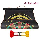Ezyoutdoor 17 inches Double Sided Hanging Magnetic Traditional Dart Board 2 Targets with 6 Magnetic Darts Indoor Portable Travel Fun Gift For Children Adult Game