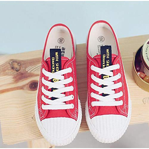 Spring de Red Negro Fall Comfort Low Rojo ZHZNVX Canvas Mujer Zapatos Heel Sneakers Blanco OxOqwR