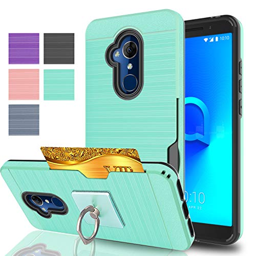 Ymhxcy for Alcatel 7 Folio Case, with Phone Stand,[Credit Card Slots Holder][Brushed Texture] Dual Layer Shockproof Protective Cover for Alcatel 7 Folio-LCK Mint