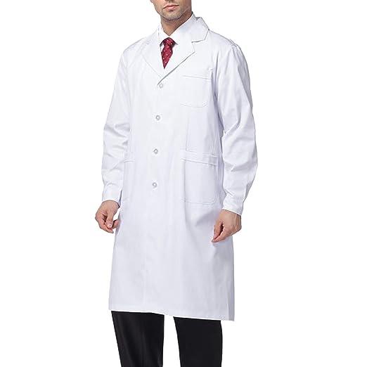 Beautyshow Bata de Laboratorio, Hombre Laboratorio Blanco Uniformes Sanitario Ropa de Trabajo Blanca con Manga Larga Médico Desgaste: Amazon.es: Ropa y ...