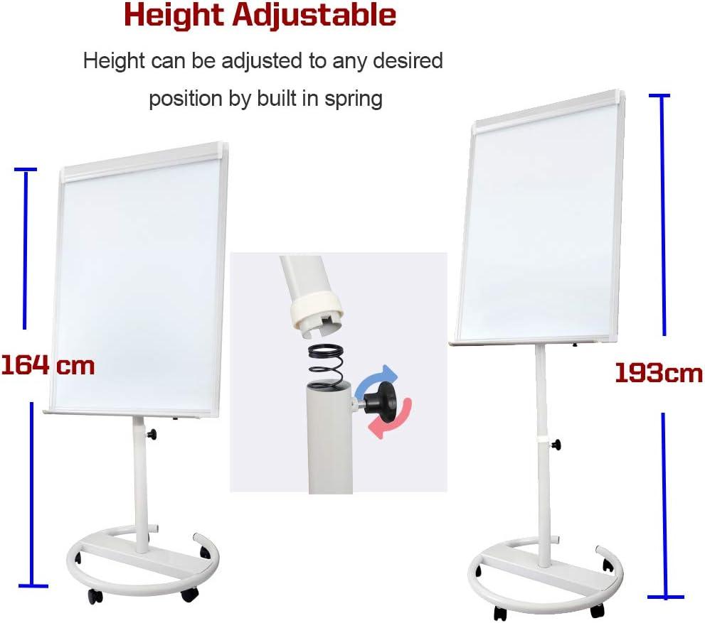 mit Flipchart-Pad trocken abwischbar Tragbares magnetisches Whiteboard 101,6 x 71,1 cm Magneten und Radiergummi 40 x 28 wei/ß mit h/öhenverstellbarem Roll-St/änder