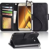 Galaxy A5 2017 Case, Arae [Wrist Strap] Flip Folio [Kickstand Feature] PU leather wallet case with ID&Credit Card Pockets For Samsung Galaxy A5 2017 (NOT for galaxy A5 2016),Black