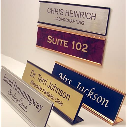 Personalized Office Name Plate With Wall or Desk Holder - 2x8 - CUSTOMIZE & Custom Office Door Signs: Amazon.com