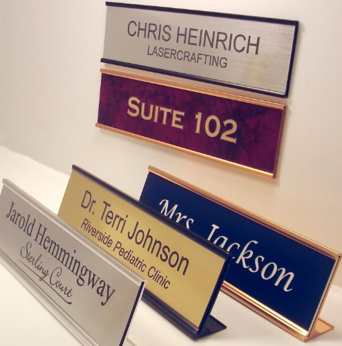 Personalized Office Name Plate With Wall or Desk Holder - 2x8 - CUSTOMIZE (Satin Sign Door)