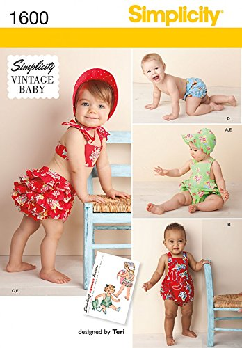 d2524c5c9335 Simplicity Baby   Toddler Sewing Pattern 1600 Vintage Style Romper ...