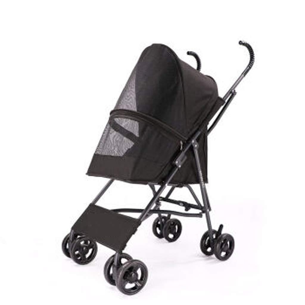 Black Lihuaa Pet Stroller Hyena Car Light Portable Collapsible Dog Stroller Teddy Out Cart [upgrade Version] Can Bear 15 Kg (color   Black)
