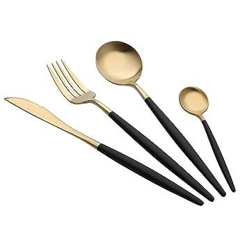 Cuchara, disfraz de Portugal estilo acero inoxidable tenedor cuchara cubiertos vajilla 4 piezas juegos A: Amazon.es: Hogar