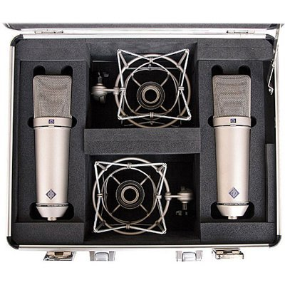 Neumann Stereo Pair Kit, Includes 2 x U87 Ai Microphone, 2 x EA 87 Elastic Suspension Mount, Storage Case, Nickel