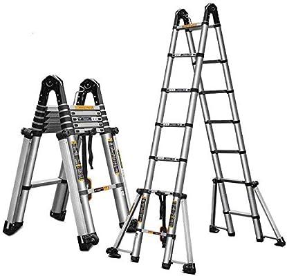 FJX Escalera telescópica Escalera plegable multifunción de aluminio Escalera de extensión de desván portátil,2.1m + 2.1m: Amazon.es: Bricolaje y herramientas