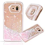 Samsung Galaxy S7 Edge case,Crosstree Liquid, Appmax Cool Quicksand Moving Stars Bling Glitter Floating Dynamic Flowing Case Liquid Cover for galaxy s7 edge. (Heart Pink)