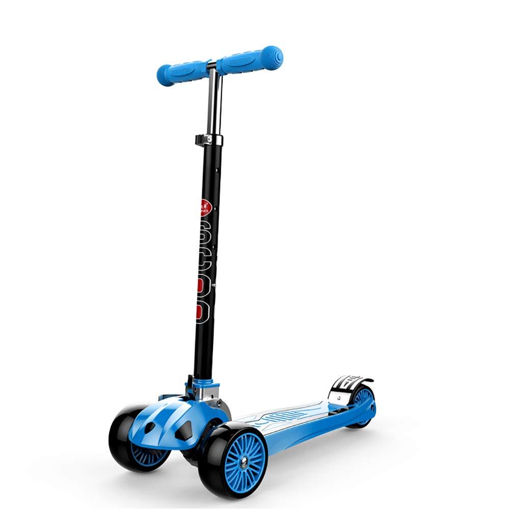 YXX- スクーター 幼児の年齢のためのアルミ合金の折るスクーターは2-16年、110ポンドの可搬重量、4つの速度の調節可能な高さ (色 : 青, サイズ さいず : Wheels) B07MPRL81Z  青 Wheels