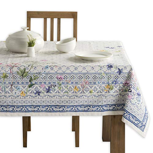 Maison d' Hermine Faïence 100% Cotton Tablecloth 60 - Inch by 90 - Inch