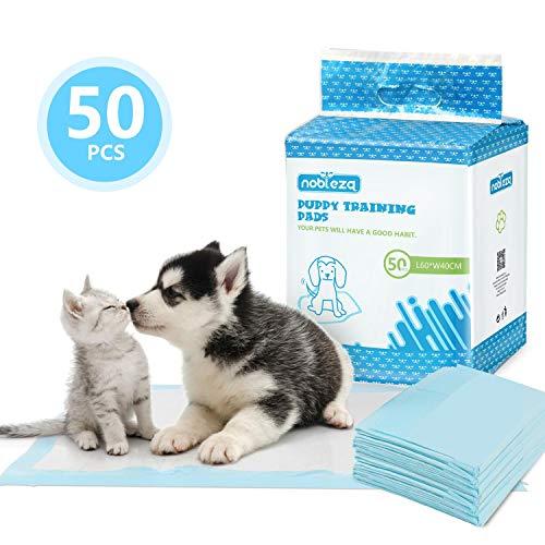 🥇 Nobleza – 50 x Empapadores Perros Alfombrilla higiénica de Entrenamiento para Perros. Ultraabsorbente 40cm*60cm.