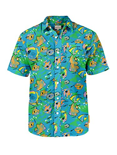 Mickey Mouse Hawaiian Shirt - Men's Fish Bowl Aloha Shirt: Large