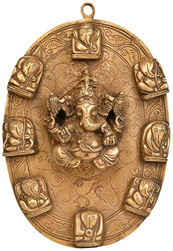 Exotic India ZCJ95 Lord Wall Hanging Plate Ganesha Brass Statue, Gold (Plate Gold Statue)