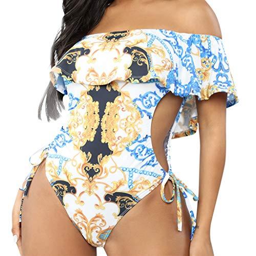 - FEDULK Womens Plus Size Swimwear Gradient Print One Piece Ruffles Swimsuit Tummy Control Monokini Bathing Suit(White, XX-Large)