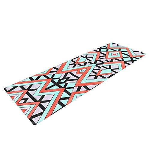 Kess InHouse Pom Graphic Design Geometric Mountains Yoga Exercise Mat, Orange/Teal, 72 x 24-Inch by Kess InHouse