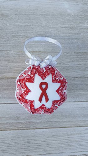 Red Awareness Ribbon Quilted Fabric Christmas Ornament. AIDS, HIV, Heart Disease, Hypertension