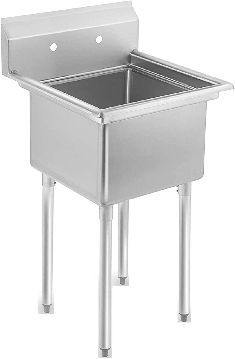 """1 Compartment Commercial Standing Stainless Steel Sink - For Kitchen Prep, Lundry, Backyard, Bar, Utility and more. Comes with 10"""" Faucet. NSF Certified."""