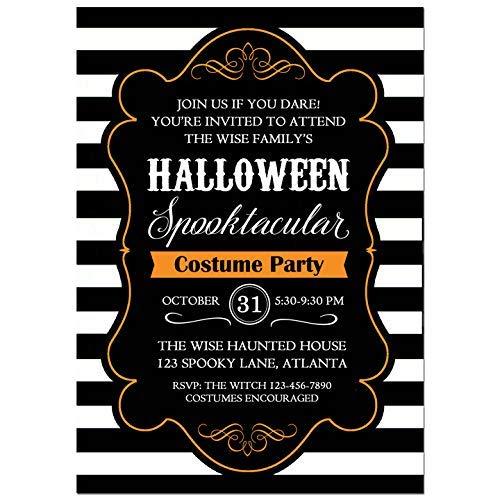 (Halloween Party Invitation - Halloween Invitation -Halloween Black and White Collection)