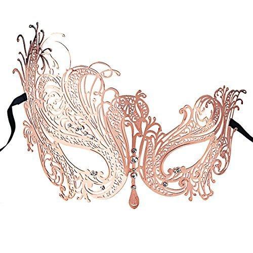 Coxeer Venetian Masquerade Mask Women's Swan Metal Filigree Laser Cut Mask (Rose -