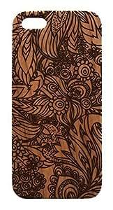 Genuine Wood Trendy Hipster Flower Design iPhone 5 5s Case - Lasercut Geometric Pattern iPhone Cover (Dark Cherry Wood) With High Grade Design L-NE CASE