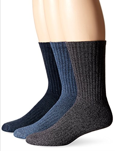 Navy Cotton Socks - Dockers Men's 3 Pack Enhanced and Soft Feel Cushion Crew, Navy Assorted, Sock Size:10-13/Shoe Size: 6-12