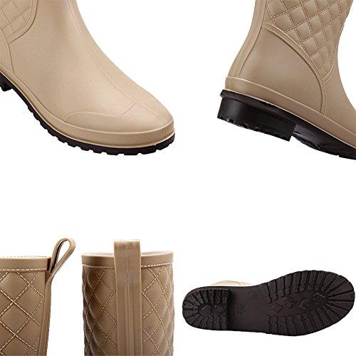 17KM Mid Short Slip Black Shoes Rubber Rain Calf Khaki Anti Rain Boots Waterproof Womens Cw0CqxT