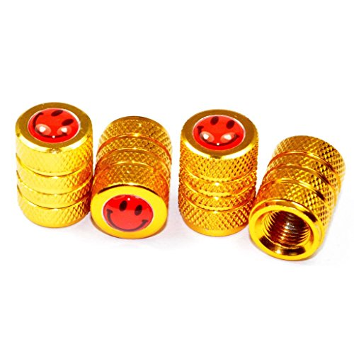 Cutequeen Smiling Face Gold Tire Air Valve Caps Fit All Schrader valve(Pack of 4)