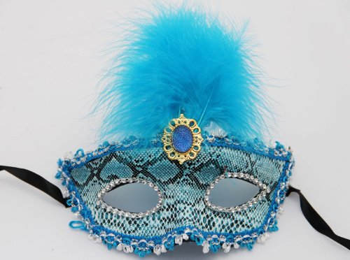 [MegaShopping Party Navy Blue Mask Costume Masquerade Night Out with Feather Decoration] (Blue Mardi Gras Mask)