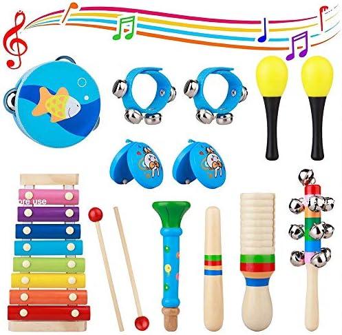 KOULI 音楽おもちゃセット 木製 環境にやさしい 幼児おもちゃ 打楽器セット 幼稚園音楽教育ツール 知育玩具 音感訓練 家庭パーテイ娯楽玩具 親子活動 子ども 誕生日 プレゼント 入園祝い ギフト