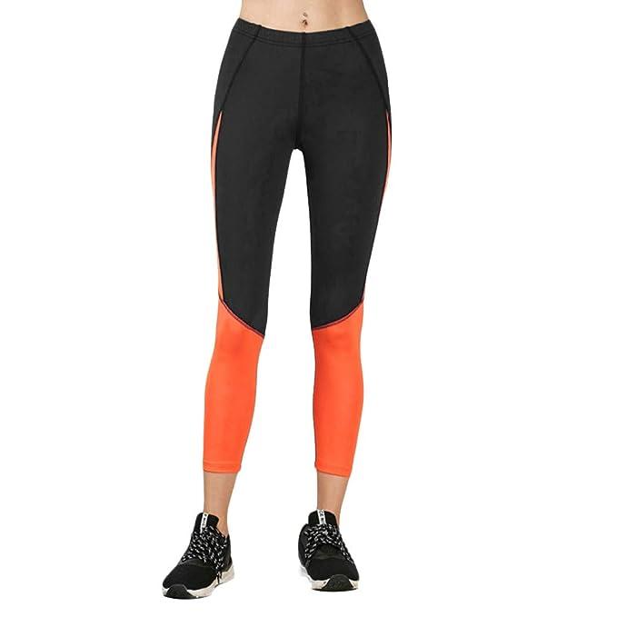 LyHoma Pantalones de Yoga con Color de Contraste para Mujer ...