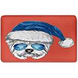 Memory Foam Bath Mat,Yorkie,Terrier with a Blue Santa Hat and Mirror Aviator Glasses Fun Hand Drawn Animal DecorativePlush Wanderlust Bathroom Decor Mat Rug Carpet with Anti-Slip Backing,Coral White
