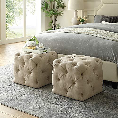 Inspired Home Beige Linen Ottoman - Design: Angel   Square Shaped   Modern   Allover Tufted Design