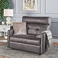 Hana Plush Cushion Tufted Back Loveseat Recliner (Microfiber/Slate)