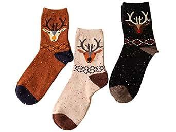 Sunjune Women's Cartoon Wool Crew Socks Cute 3 Pairs Warm Mid Socks (Deer)