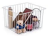 : SANNO Household Wire Storage Basket Bins Organizer with Handles for Kitchen, Pantry, Freezer, Cabinet - Pearl White