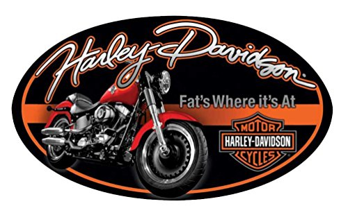 Tin Sign Oval - Harley-Davidson Tin Sign, Fat Boy Motorcycle Oval Sign, Black/Orange 2010941
