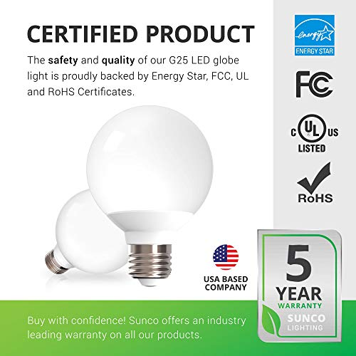Sunco Lighting 6 Pack G25 LED Globe, 6W=40W, Dimmable, 450 LM, 5000K Daylight, E26 Base, Ideal for Bathroom Vanity or Mirror - UL & Energy Star