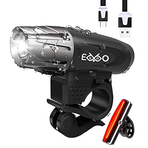 (EKPO Bike Light USB Rechargeable and Free USB Taillght. Fits All Bikes.Waterproof. LED High Intensity Keeps You Safe at Night. Fast No Tool Required to Install. Tough & Durable Mountain Bicycle Set)