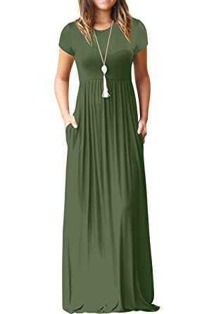 GRECERELLE Women s Short Sleeve Loose Plain Maxi Dresses Casual Long Dresses  with Pockets Army Green S c0d9add56
