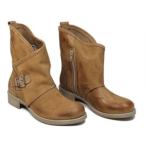 Bassi Made Vera Biker Stivaletti Estivi Cuoio Pelle Nabuk 0376 Donna Asimmetrici Italy Primaverili Boots In Time aPx6ww