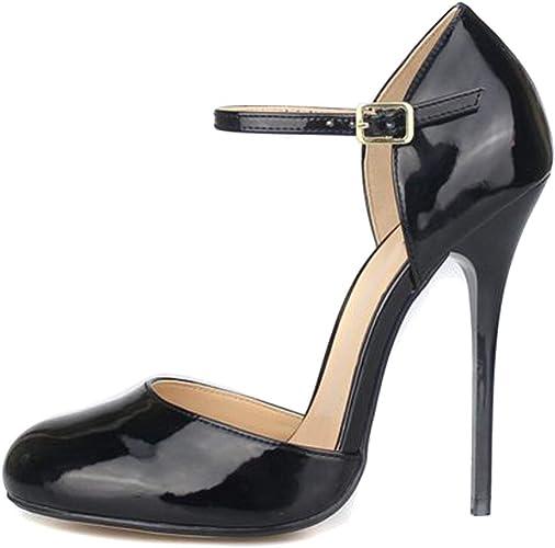 best shoes usa cheap sale entire collection MAIERNISI JESSI Unisex Men's Women's Round Toe Ankle Buckle D-Orsay  Stiletto High Heel Pumps