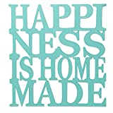 NOVICA Blue Wood Beach Cottage Inspirational Quote Wall Mural 'Happiness Is Homemade In Aqua' For Sale