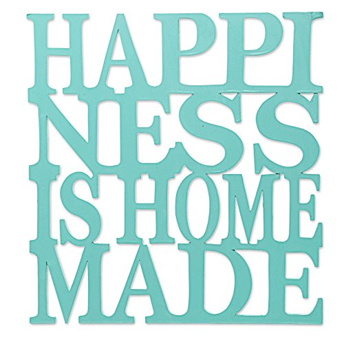 NOVICA Blue Wood Beach Cottage Inspirational Quote Wall Mural 'Happiness Is Homemade In Aqua'