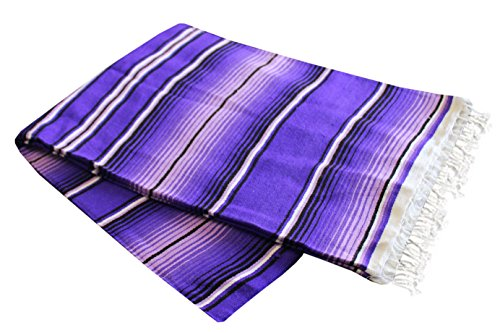 Del Mex (TM) X-large Mexican Serape Beach Blanket Two Tone Purple ()