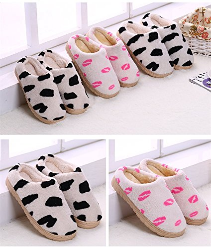 Jutao Mujer Winter Warm Coral Fleece Acogedor House Slipers Cow Vaca