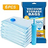 Agedate Vacuum Storge Bags, 6 Pack (3xLarge, 3xJumbo) Space Saver Storage Bags for Travel, Durable and Reusable, Save 80% More Storage Space, Free Hand Pump Included