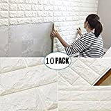 """10PCS 3D Brick Wall Stickers, PE Foam Self-Adhesive Wallpaper Peel and Stick 3D Art Wall Panels for Living Room Bedroom Background Wall Decoration,White (30.3"""" x 27.1"""" (7"""