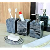 KLEO - Bathroom Accessory Set made from Natural Black/Grey Stone - Bath Accessories set of 4 includes Soap Dispenser, Toothbrush Holder, Utility and Soap Dish